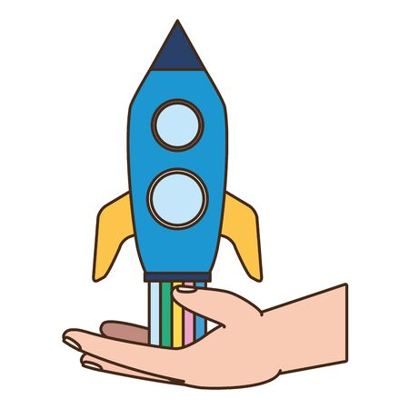 hand with rocket startup white background vector illustration Ilustracja