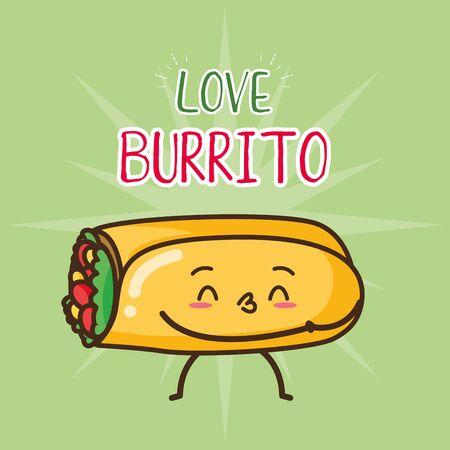 burrito fast food cartoon vector illustration Illustration