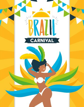 dancer with feather costume garland decoration brazil carnival celebration vector illustration