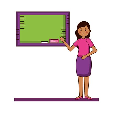 Frau mit Tafel-Lehrer-Tageskarten-Vektorillustration