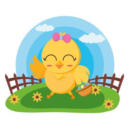 happy easter chick holds basket eggs grass vector illustration