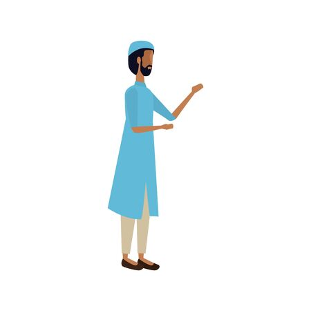 islamic man with traditional clothes vector illustration design