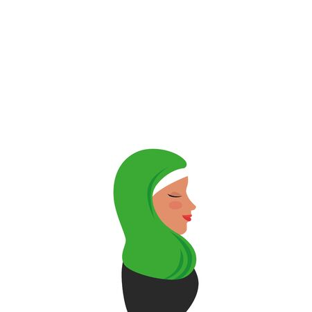 profile of islamic woman with traditional burka vector illustration design Çizim