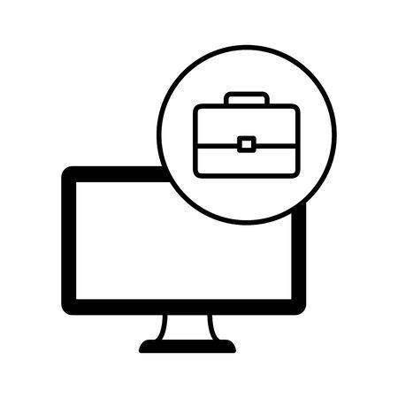 desktop computer device with portfolio vector illustration design Ilustrace