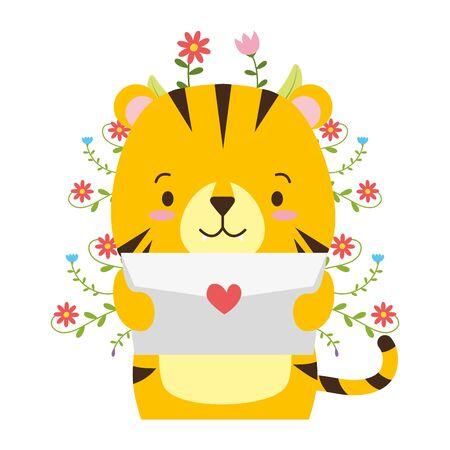 cute tiger cartoon mail love vector illustration Çizim