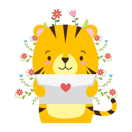 Ejemplo lindo del vector del amor del correo de la historieta del tigre Ilustración de vector