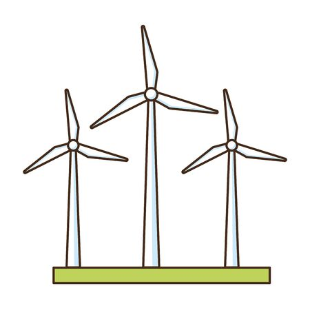 wind turbines energy renewable vector illustration design Ilustração