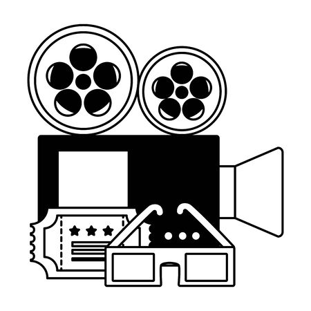 projector ticket 3d glasses strip film cinema movie vector illustration