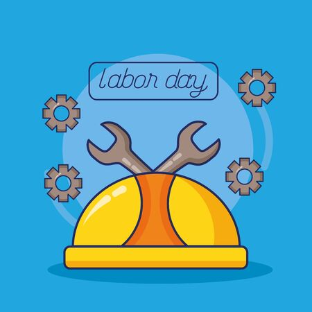 hardhat wrench and gears labour day vector illustration Illustration