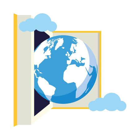 open book earth sky - world book day vector illustration