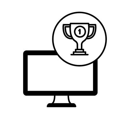 desktop computer device with trophy vector illustration design Фото со стока - 129235916