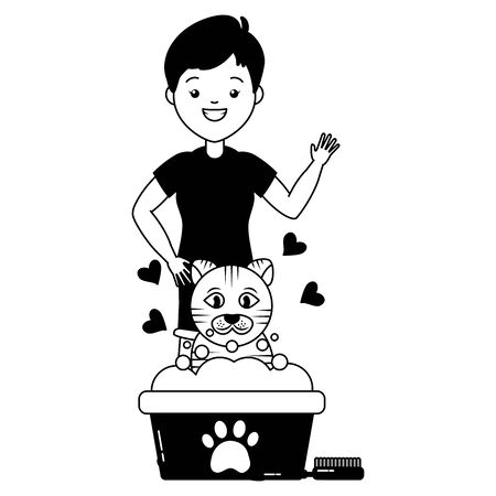 woman cat pet grooming bucket and brush vector illustration Фото со стока - 129235943