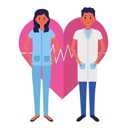 medical man and woman characters professional vector illustration