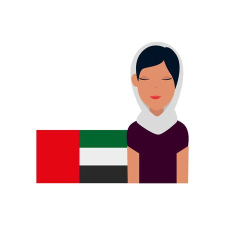 islamic woman with traditional burka and arabia flag vector illustration design