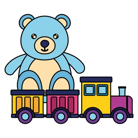 baby toys bear with train design vector illustration