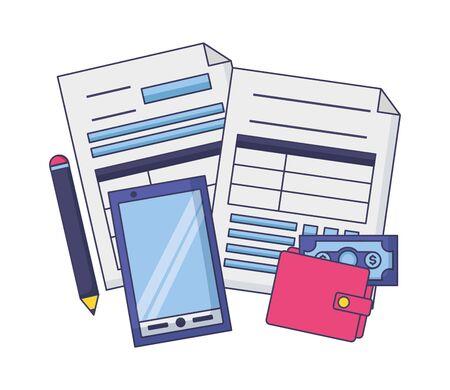 cellphone wallet money pen form  tax payment vector illustration Ilustração