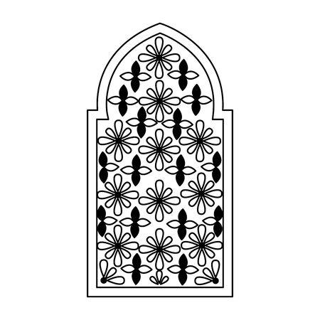 decorated frame flowers arabesque ornament vector illustration Banque d'images - 129240055