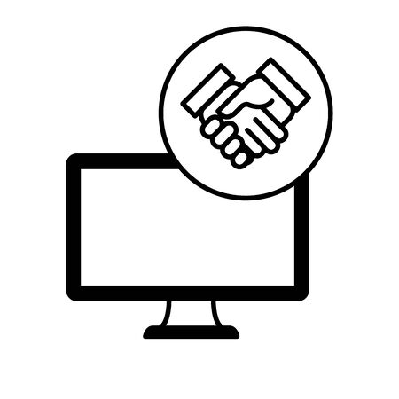 desktop computer device with handshake vector illustration design Иллюстрация