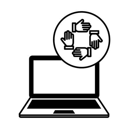 laptop computer with hands teamwork vector illustration design