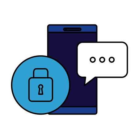 smartphone device with padlock security vector illustration design Çizim