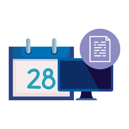 desktop computer device with document file vector illustration design 일러스트