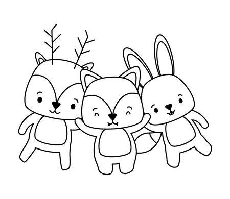 cute fox rabbit and deer cartoon vector illustration