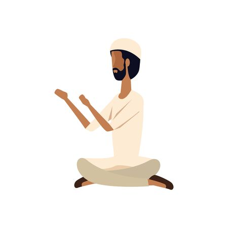 islamic man seated praying with traditional clothes vector illustration design Фото со стока - 129340639