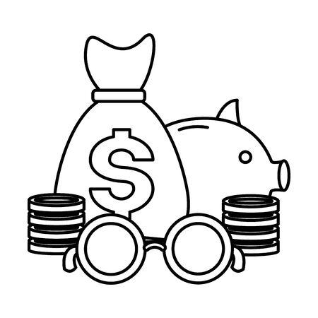 piggy bank money bag tax time payment vector illustration