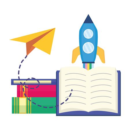 rocket textbook paper plane - world book day vector illustration