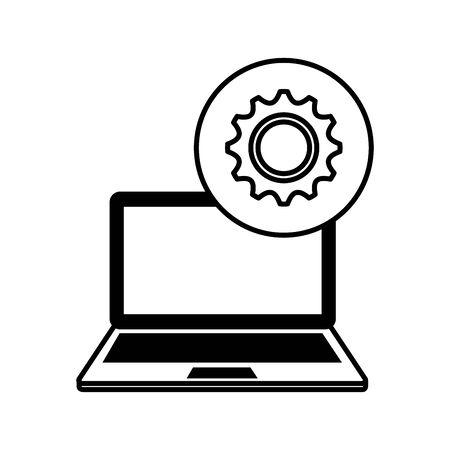 laptop computer with gear machine vector illustration design