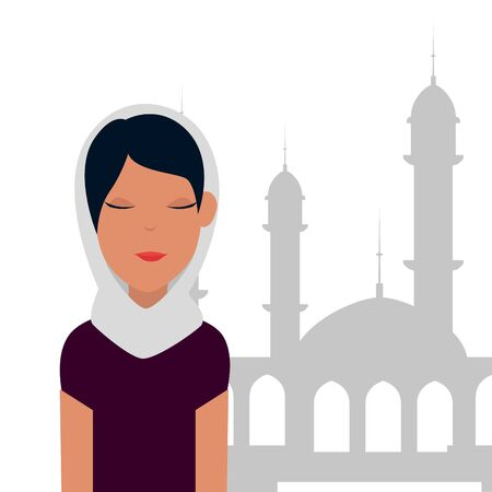 islamic woman with traditional burka and mosque building vector illustration design Ilustração