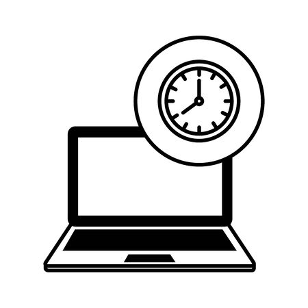 laptop computer with time clock vector illustration design Illustration