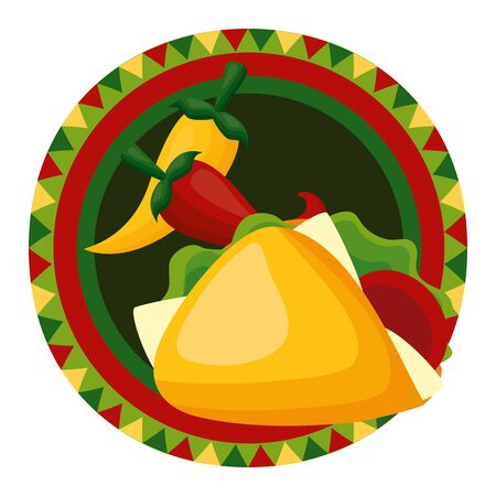 taco chili pepper mexico cinco de mayo badge vector illustration 스톡 콘텐츠 - 129236047