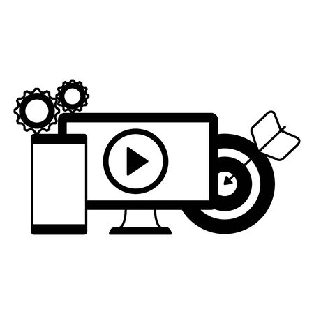 desktop computer with target and smartphone vector illustration design 일러스트
