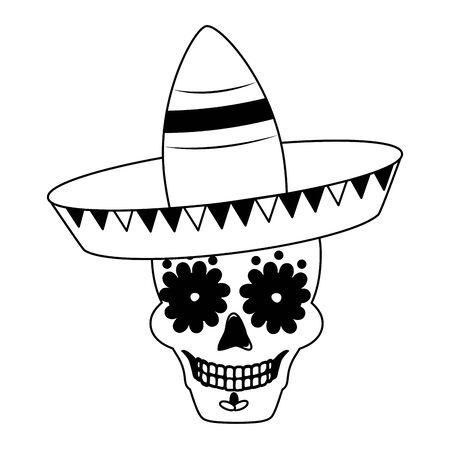 skull with hat mexico cinco de mayo sticker vector illustration