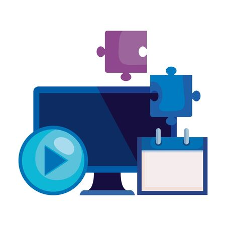 desktop computer with calendar and puzzle pieces vector illustration design