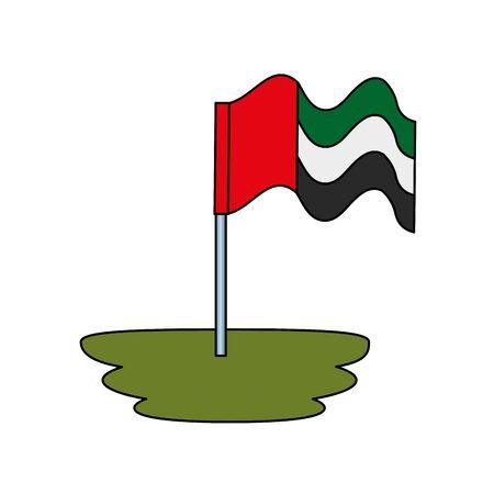 United Arab Emirates flag waving in pole vector illustration design Banque d'images - 132609752