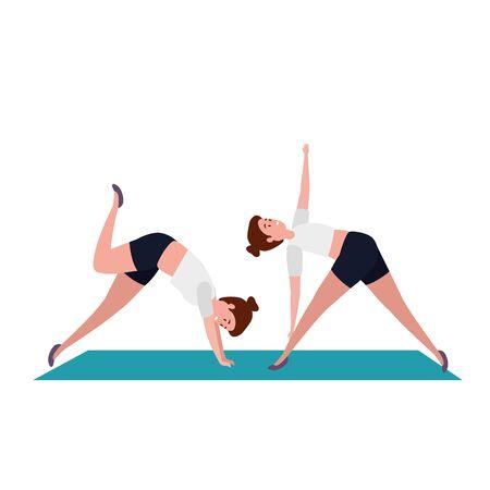 beauty girls practicing pilates position in mattress vector illustration design Vectores