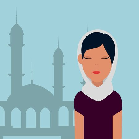 islamic woman with traditional burka and mosque building vector illustration design Banque d'images - 129236207
