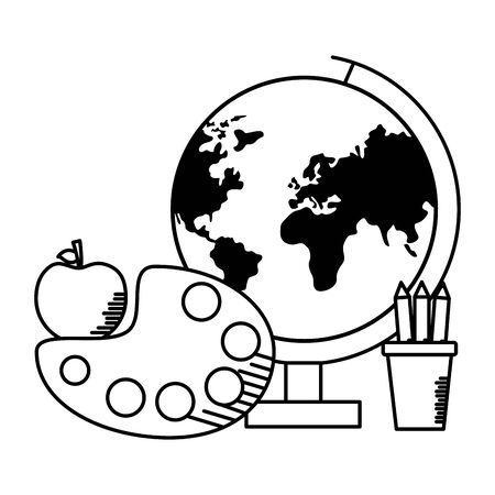 school globe apple pencils art palette teachers day vector illustration Ilustração