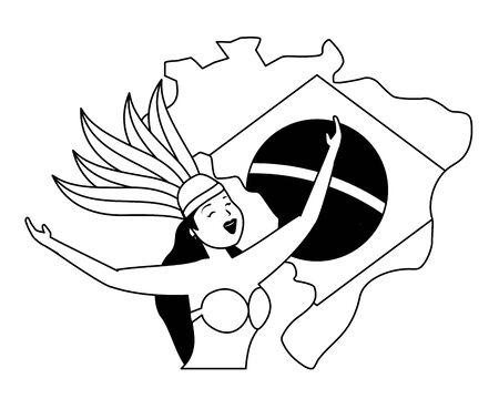 dancers exotic feathers flag map brazil carnival vector illustration Иллюстрация