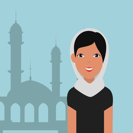 islamic woman with traditional burka and mosque building vector illustration design Çizim