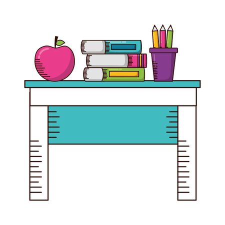 desk apple books pencils teachers day card vector illustration
