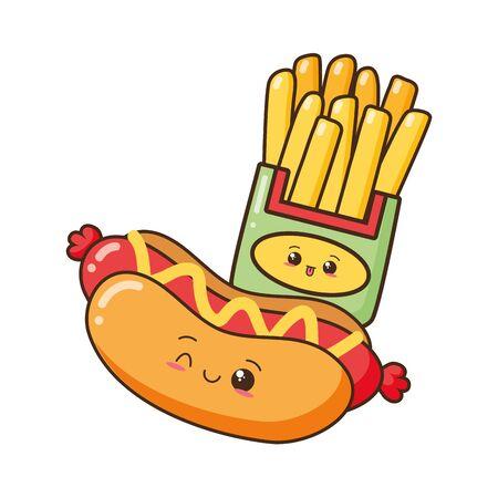 dibujos animados hot dog papas fritas ilustración vectorial