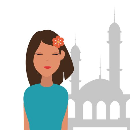 islamic woman with mosque building vector illustration design