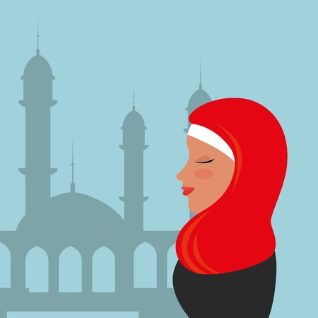 profile of islamic woman with traditional burka in mosque vector illustration design Banque d'images - 129235966