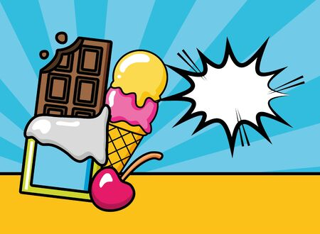 pop art elements ice cream chocolate cherry vector illustration
