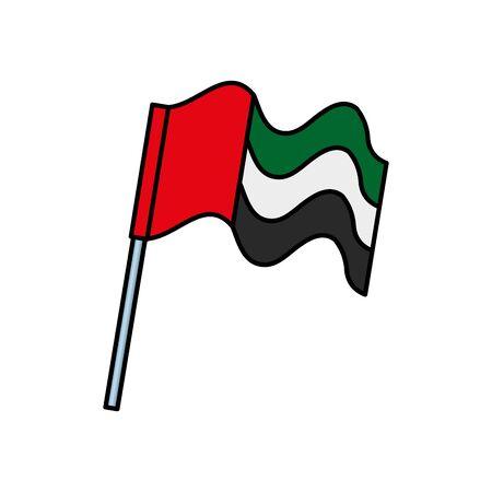 Bandera de los Emiratos Árabes Unidos ondeando en la pole, diseño de ilustraciones vectoriales Ilustración de vector
