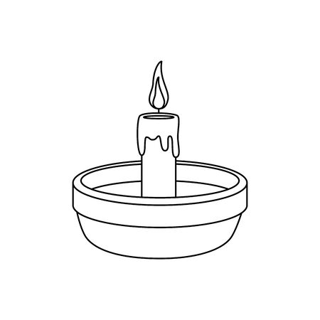 dish with religious candle fire vector illustration design