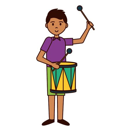 man playing drum carnival celebration vector illustration
